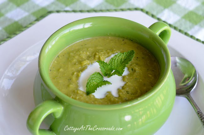 Chilled Minty Pea Soup | Cottage at the Crossroads