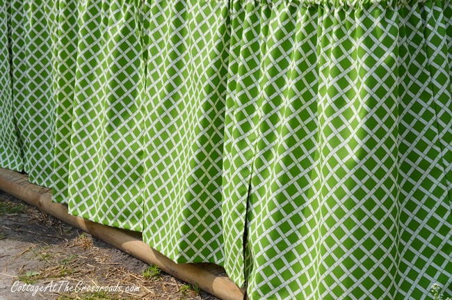 potting bench skirt | Cottage at the Crossroads