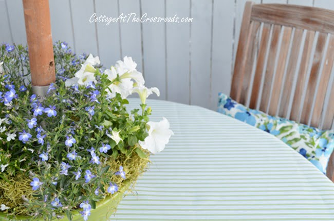 floral centerpiece for an umbrella table | Cottage at the Crossroads
