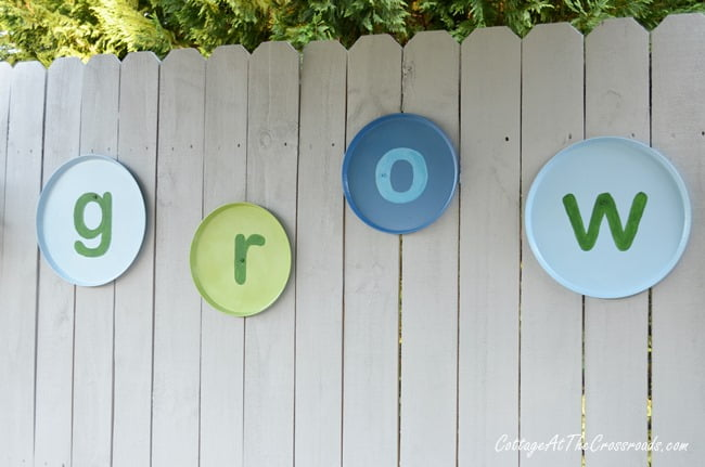G R O W letters on fence panels | Cottage at the Crossroads
