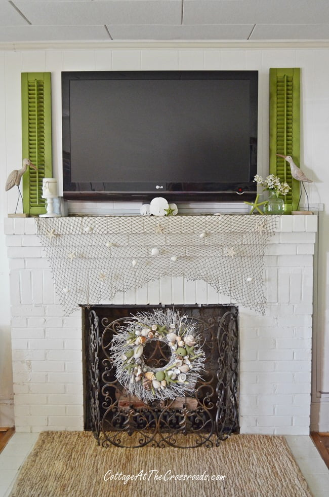 Using shutters around a flat screen TV | Cottage at the Crossroads