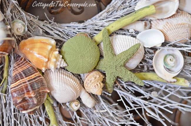 seashell wreath | Cottage at the Crossroads