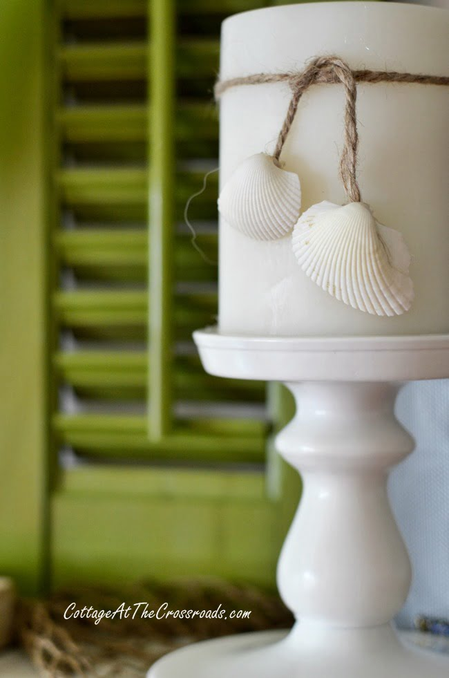 embellished candle with twine and shells | Cottage at the Crossroads