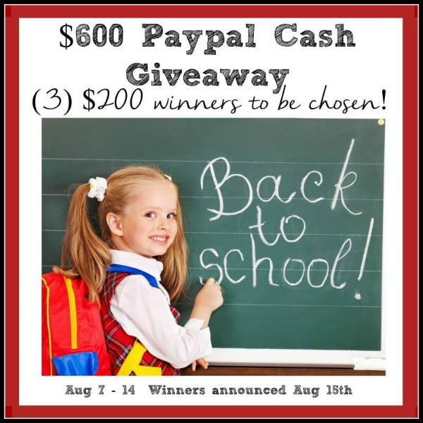 Paypal Cash Back to School Giveaway