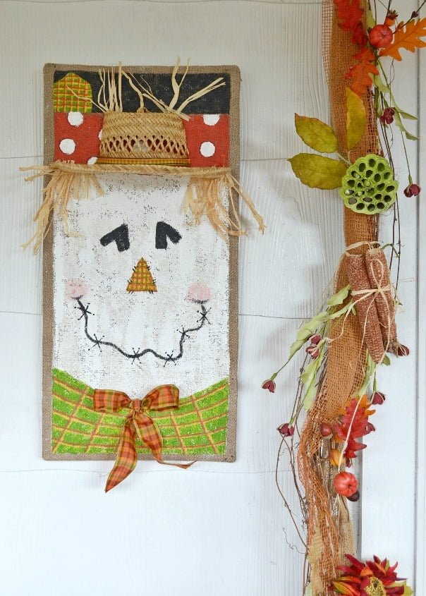 Painted scarecrows on burlap | Cottage at the Crossroads