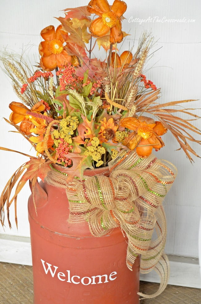 Old milk can dressed for autumn | Cottage at the Crossroads
