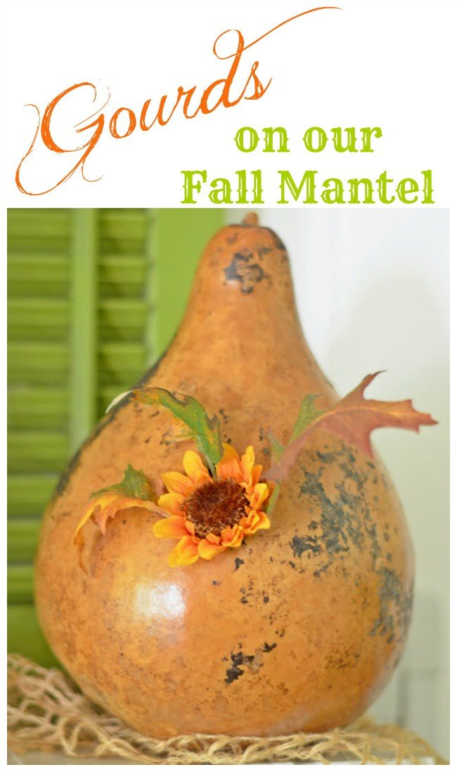 Gourds on our Fall Mantel | Cottage at the Crossroads