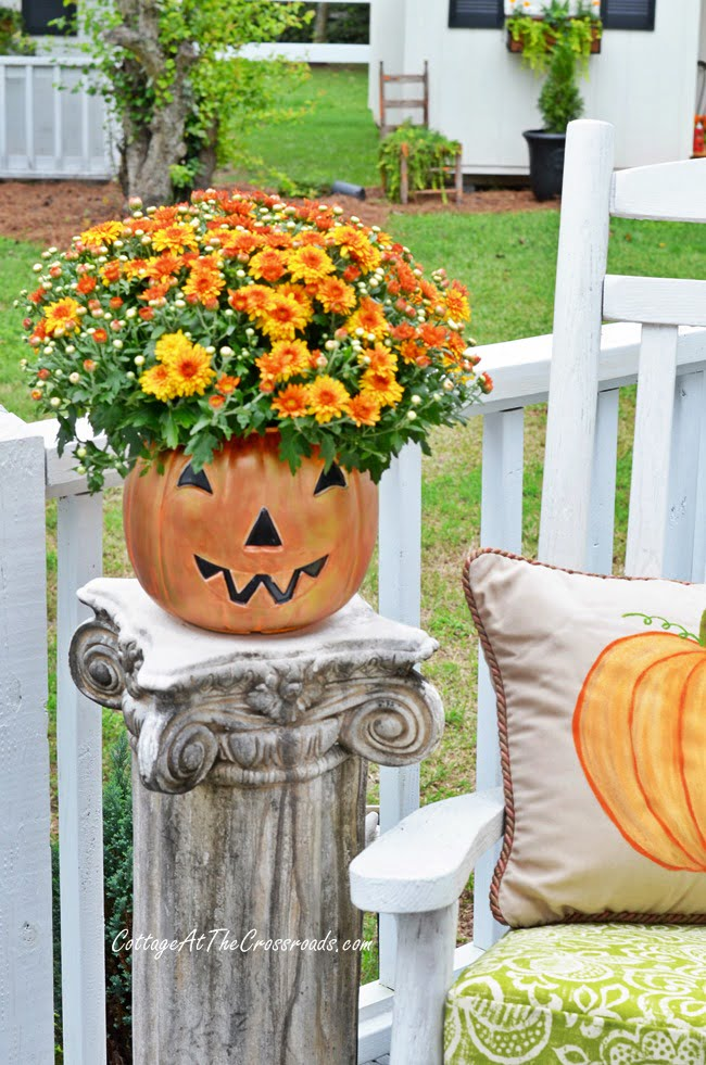 cheap, plastic trick-or-treating pail turned into a planter | Cottage at the Crossroads
