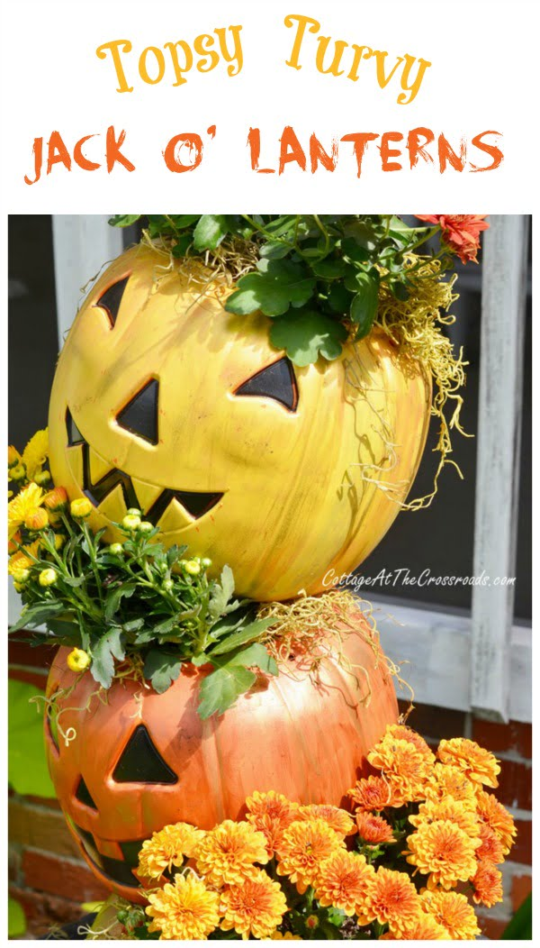 Topsy Turvy Jack-O'-Lanterns made from cheap, plastic trick-or-treating pails