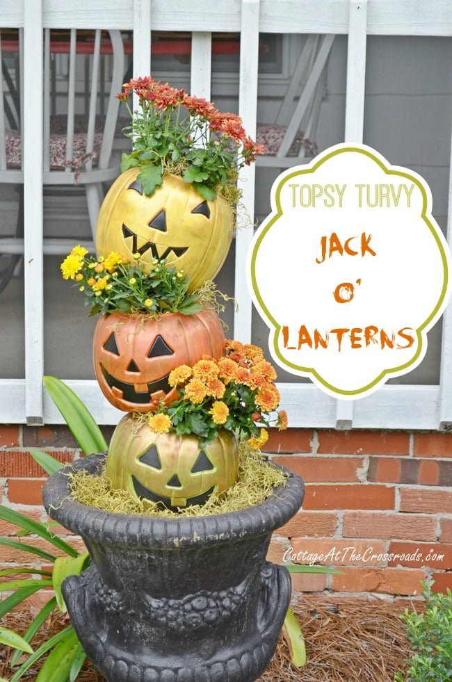 Topsy Turvy Jack-O'-Lanterns made from plastic trick-or-treat pails