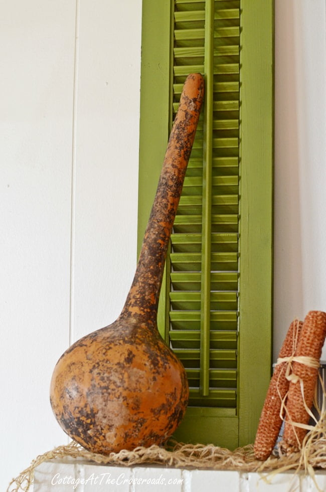 dipper gourd on a fall mantel | Cottage at the Crossroads