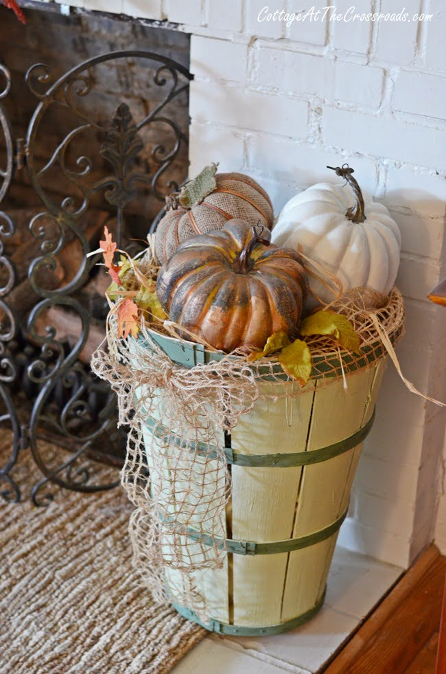 painted tall bushel basket | Cottage at the Crossroads