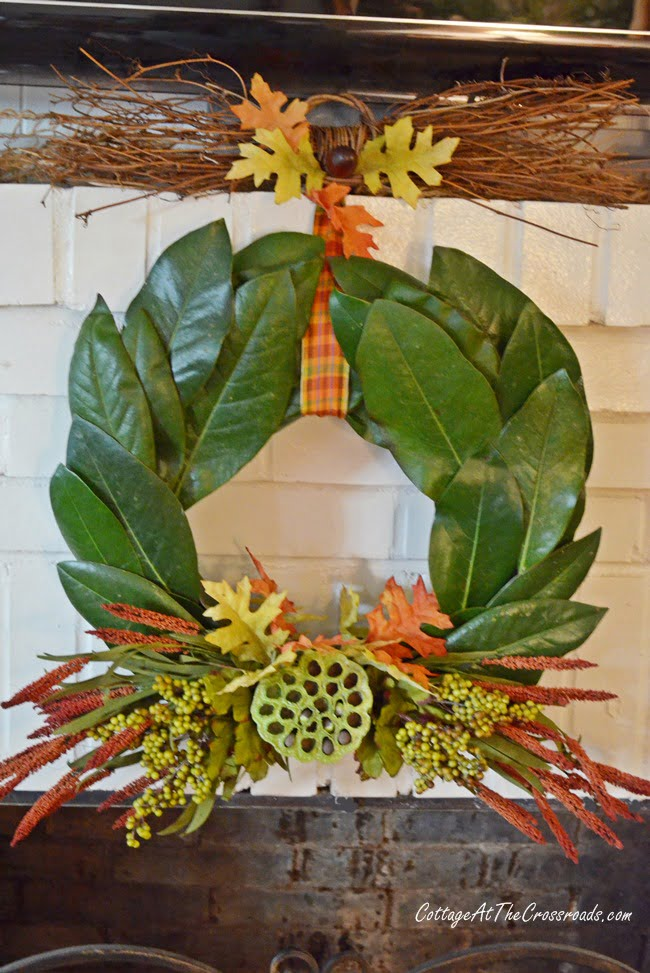 fall magnolia wreath | Cottage at the Crossroads