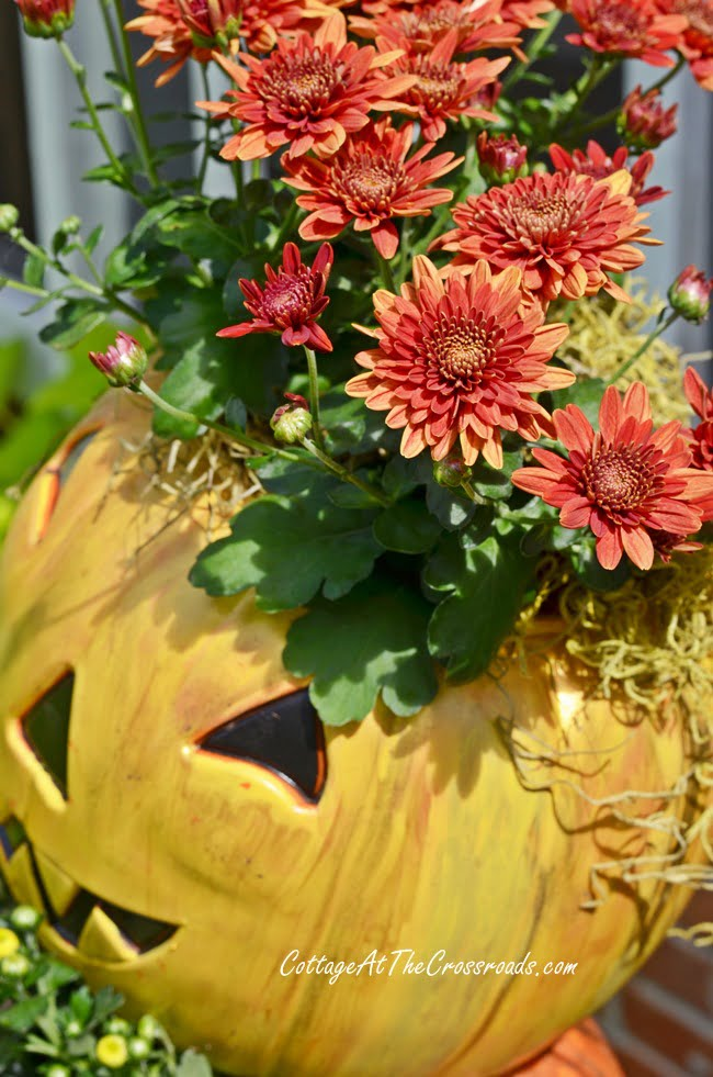 topsy turvy Jack-O'-Lanterns made from cheap, plastic trick-or-treating pails | Cottage at the Crossroads