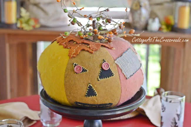 vintage patchwork pumpkin | Cottage at the Crossroads