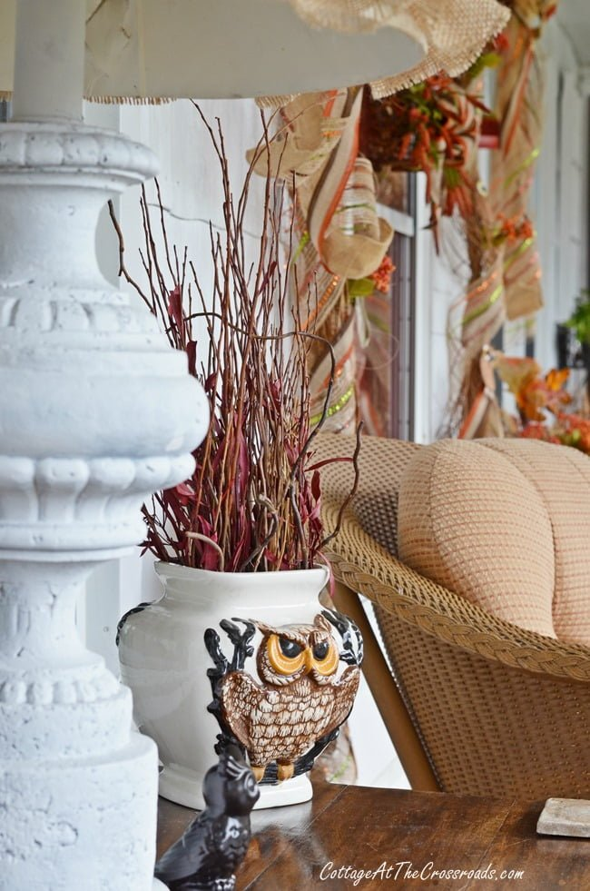 Owls on our Fall Porch | Cottage at the Crossroads
