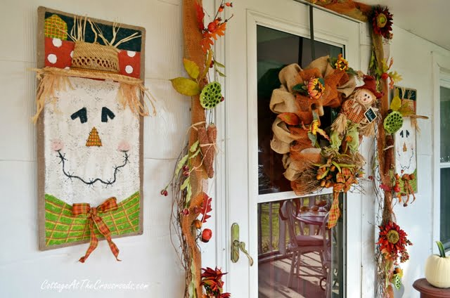 Scarecrows on the fall porch | Cottage at the Crossroads