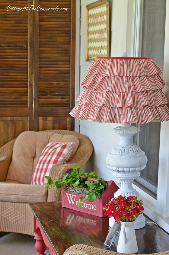 Red Ticking Ruffled Shade | Cottage at the Crossroads