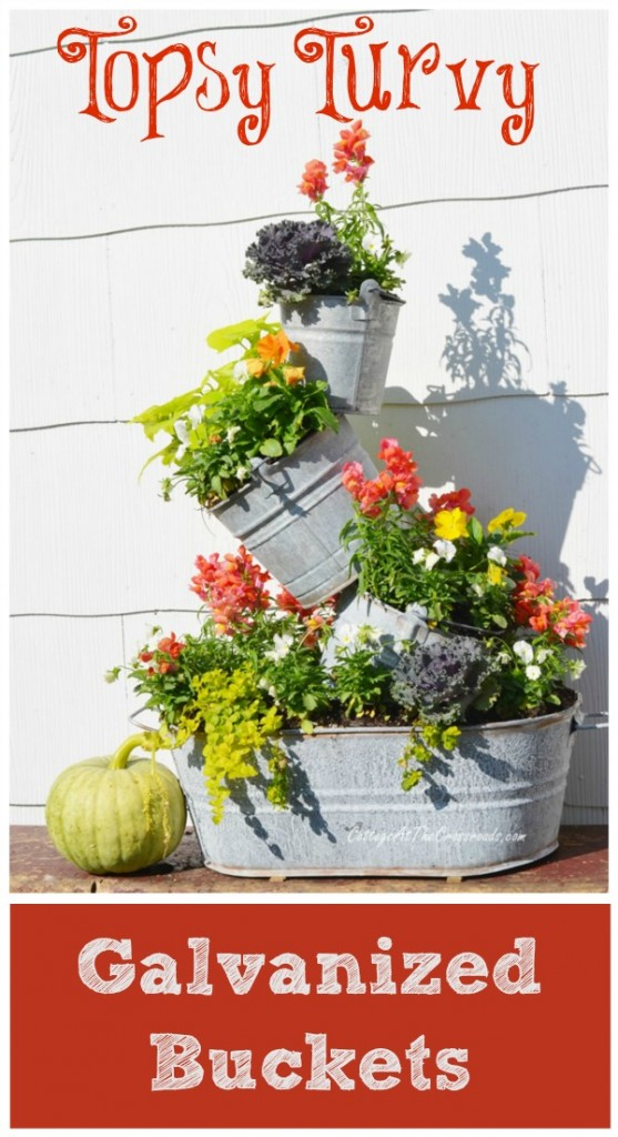 Topsy Turvy Galvanized Buckets | Cottage at the Crossroads