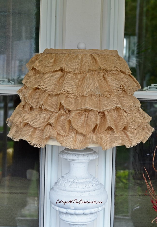 DIY Ruffled burlap shade | Cottage at the Crossroads