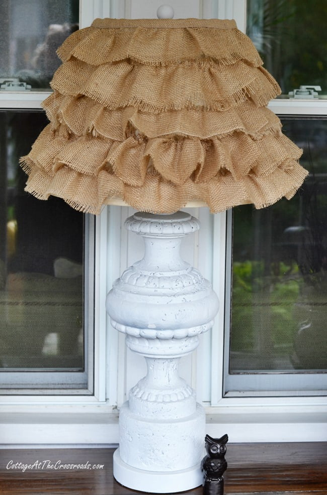 Diy ruffled burlap shade cottage at the crossroads diy ruffled burlap shade cottage at the crossroads mozeypictures Gallery