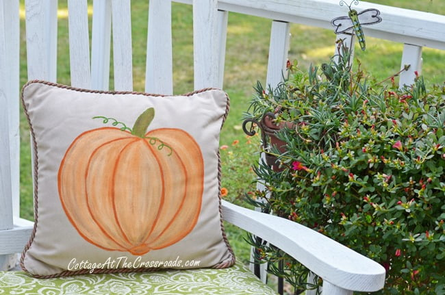 handpainted pumpkin pillow | Cottage at the Crossroads