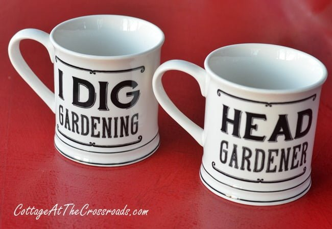 gardening mugs | Cottage at the Crossroads