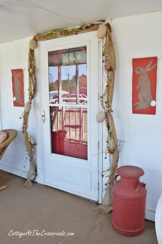 painted egg spring garland | Cottage at the Crossroads