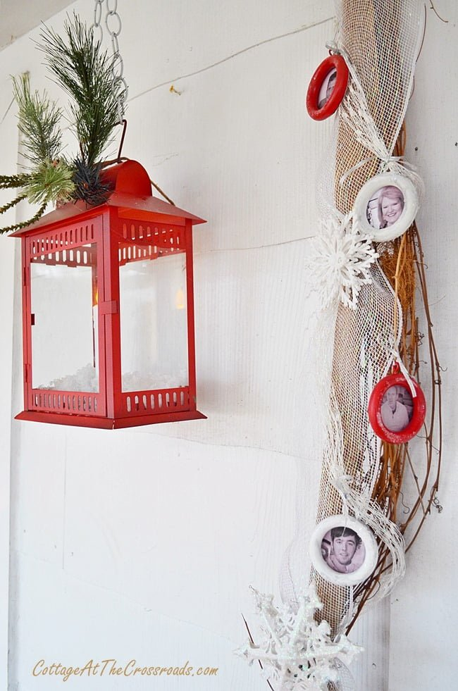 family ornaments on Christmas garland | Cottage at the Crossroads
