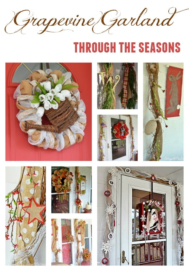 When I put up a grapevine garland two years ago, I had no idea that I would continue to  use it for so long. But it has become the base for all my seasonal decorating on the front porch of our little country cottage! | Cottage at the Crossroads