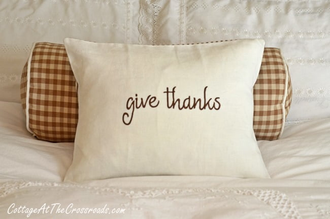 give thanks pillow | Cottage at the Crossroads