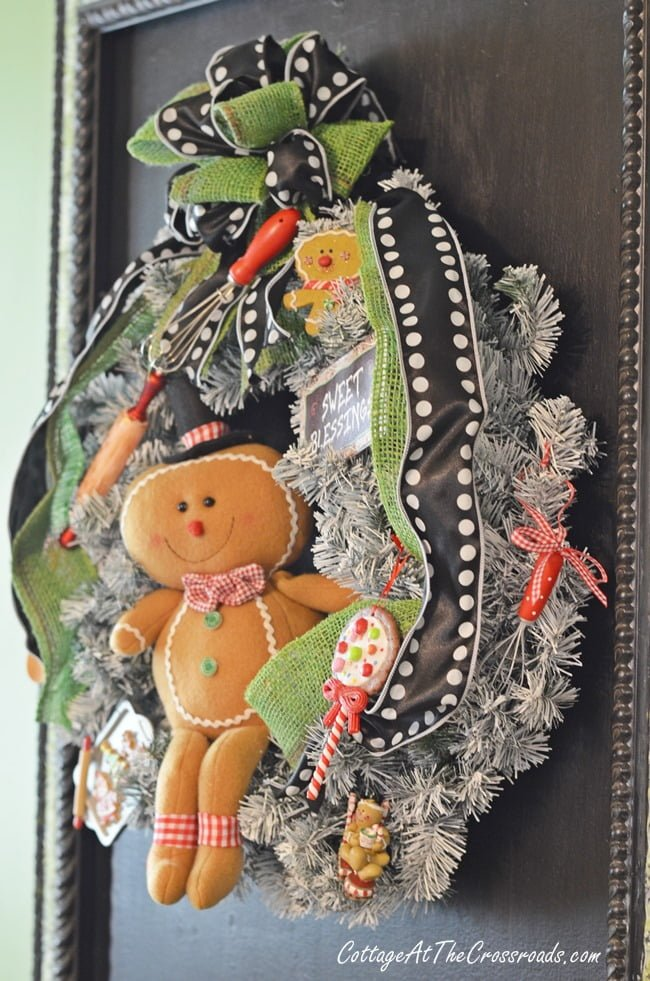 gingerbread kitchen wreath -Cottage at the Crossroads-How I Found My Style Sundays- Christmas Edition- From My Front Porch To Yours