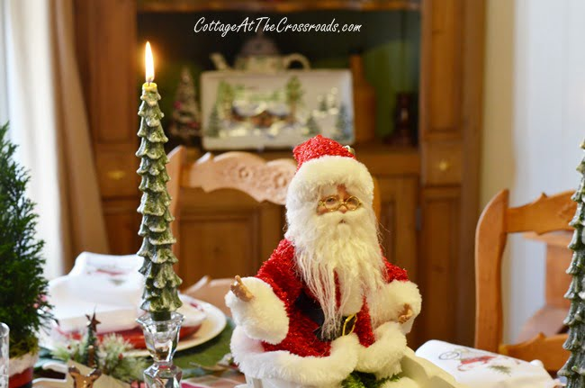 Gardening Santa Tablescape   Cottage at the Crossroads
