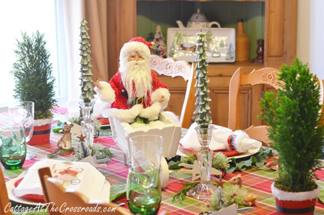 Gardening Santa Tablescape - Cottage at the Crossroads-How I Found My Style Sundays- Christmas Edition- From My Front Porch To Yours