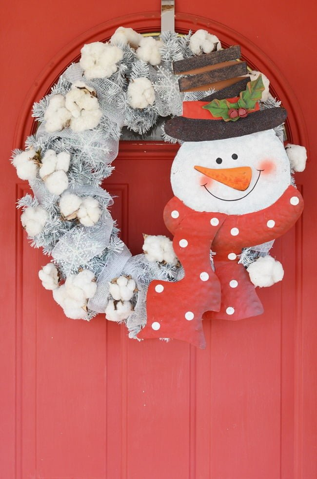 snowman wreath with glittered cotton - Cottage at the Crossroads-How I Found My Style Sundays- Christmas Edition- From My Front Porch To Yours
