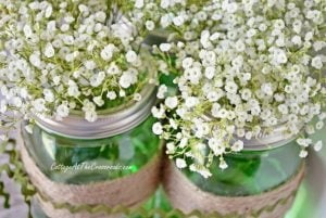 Easy Spring Centerpiece with Green Ball Jars