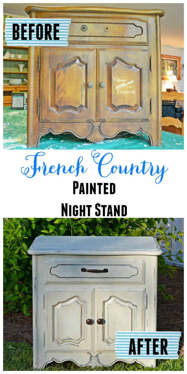 French Country Night Stand painted with Reclaim paint | Cottage at the Crossroads