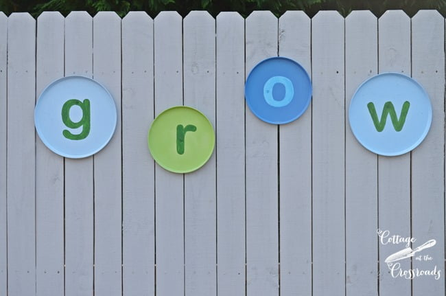 GROW letters made from stove covers | Cottage at the Crossroads