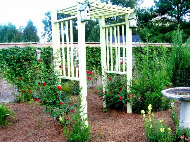 arbor in the flower garden | Cottage at the Crossroads