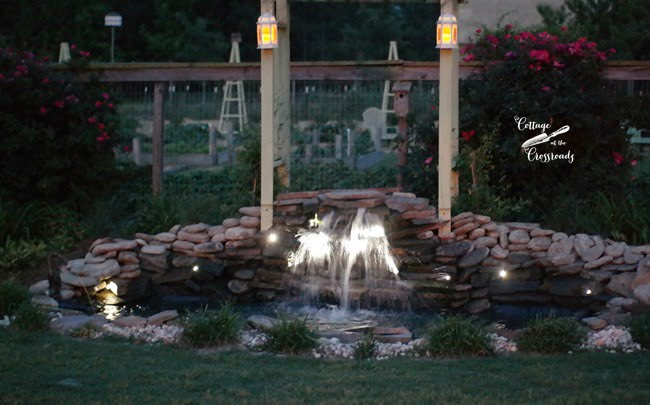 mini-LED lights around a waterfall | Cottage at the Crossroads