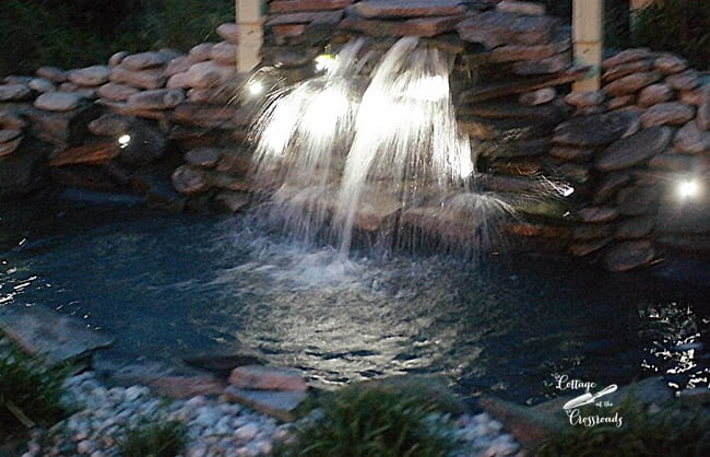 waterfall at night | Cottage at the Crossroads