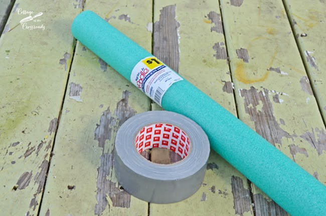 pool noodle and duct tape used to make an oyster shell candle ring | Cottage at the Crossroads