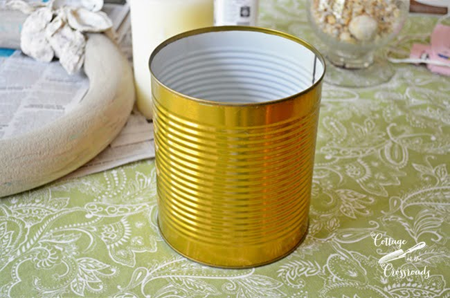 aluminum can used in making an oyster shell candle ring | Cottage at the Crossroads