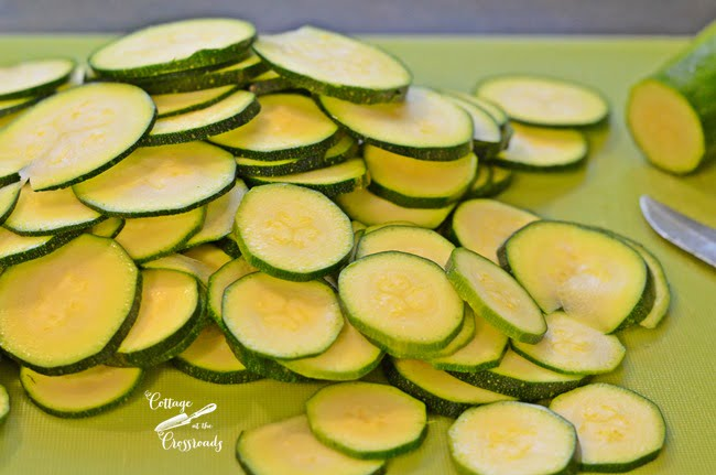 sliced zucchini | Cottage at the Crossroads