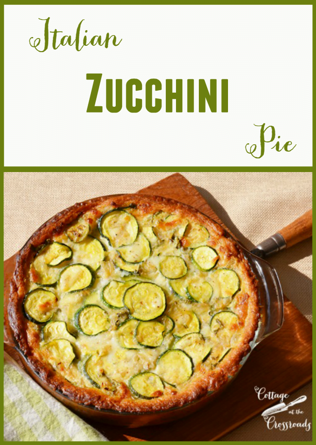 This Italian Zucchini Pie is a  delicious way to use a bounty of zucchini! Even people who say they don't like zucchini love this! old time favorite! | Cottage at the Crossroads