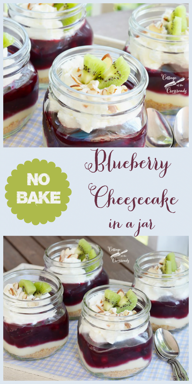 A delicious, no bake blueberry cheesecake served in a jar | Cottage at the Crossroads
