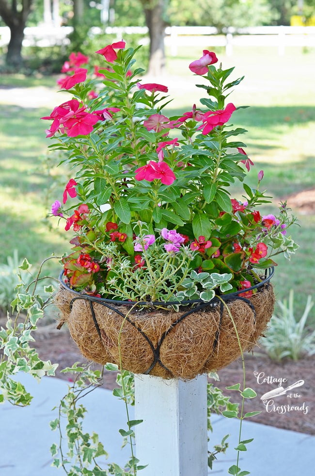 flower baskets mounted on wooden posts | Cottage at the Crossroads