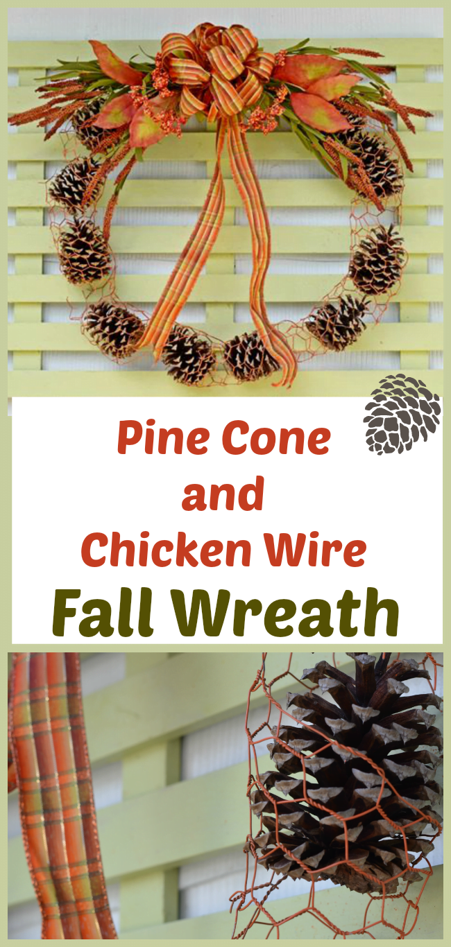 Chicken Wire and Pine Cone Fall Outdoor Wreath | Cottage at the Crossroads