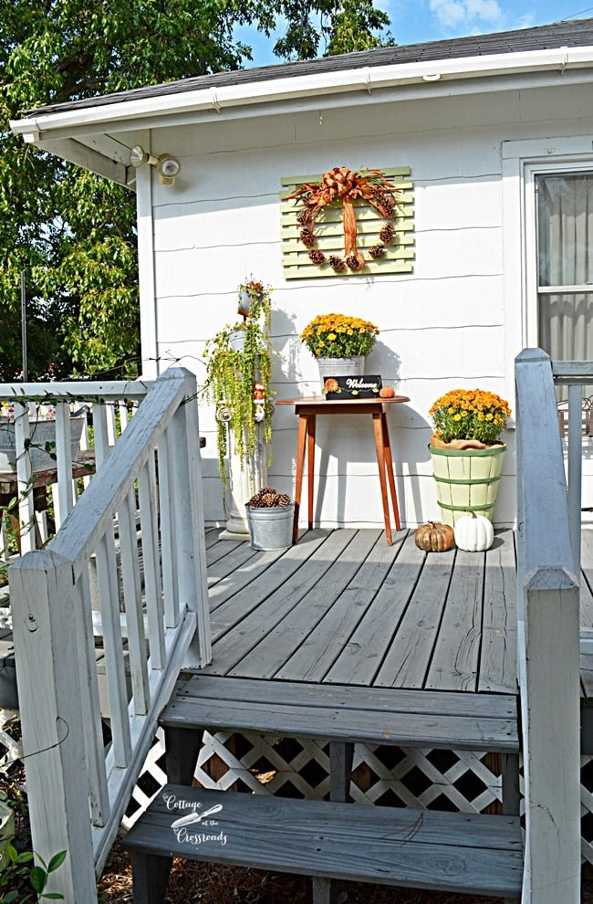 fall decorations on the deck | Cottage at the Crossroads