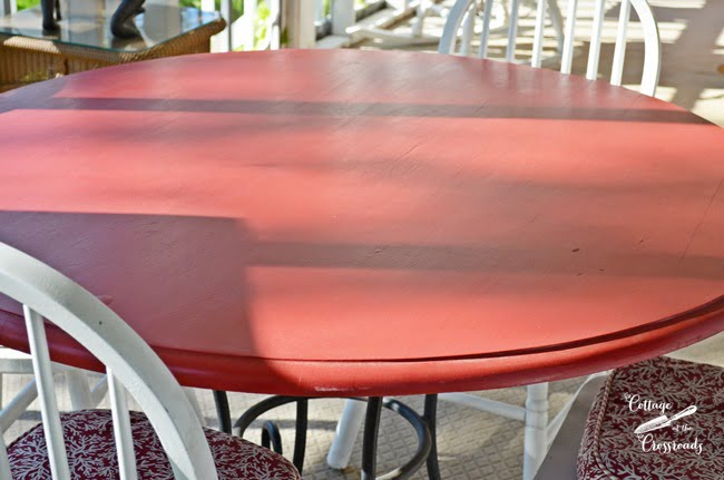 painted red table | Cottage at the Crossroads